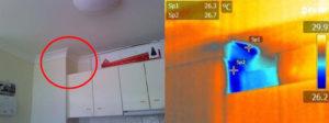 image illustrant une fuite d'eau détectée par l'usage d'une caméra thermique