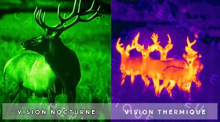 illustration montrant la difference entre l'imagerie thermique et la vision nocturne
