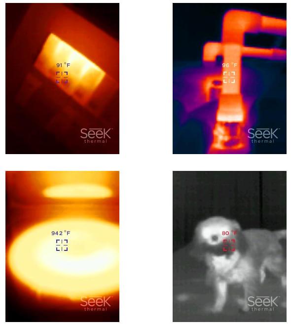 photos de captures prises avec la caméra thermique Seek Thermal Reveal