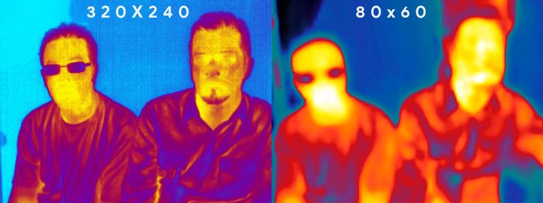 comparatif de la résolution entre deux caméras thermiques